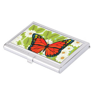 Red butterfly business card holder