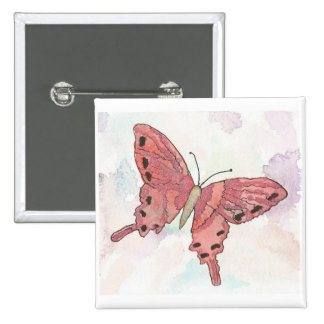 Red Butterfly Button Watercolor