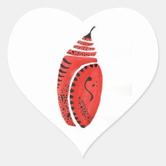 Red Butterfly Cocoon Heart Sticker