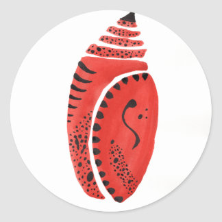 Red Butterfly Cocoon Round Sticker