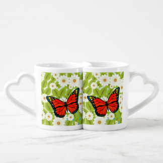 Red butterfly coffee mug set