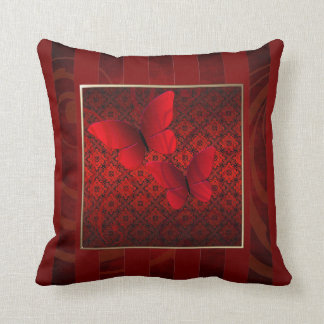 Red Butterfly Kisses Pinstripe Pillow