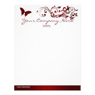Red Butterfly Letterhead Template