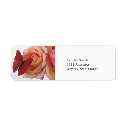 red butterfly on pink rose return address label