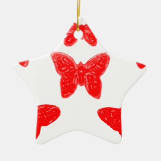 Red Butterfly Pattern Ceramic Ornament
