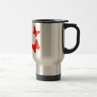 Red Butterfly Pattern Coffee Mugs