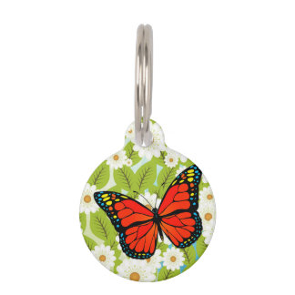 Red butterfly pet name tag