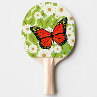 Red butterfly ping pong paddle