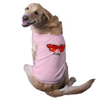 Red butterfly Pink Doggie Ribbed Tank Top Pet Tee