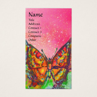 RED BUTTERFLY  PINK YELLOW GOLD SPARKLES Monogram Business Card