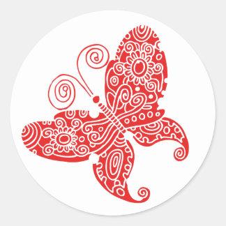 Red Butterfly Round Sticker