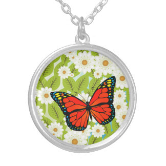 Red butterfly silver plated necklace