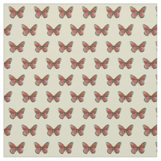 Red Butterfly Watercolor Art Fabric