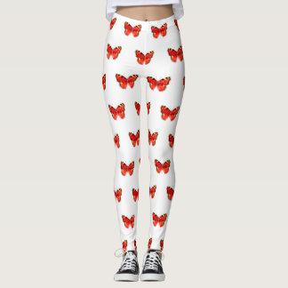 Red Butterfly Watercolor Leggings
