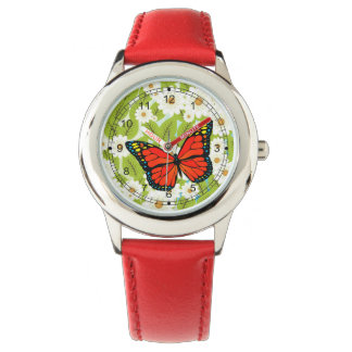 Red butterfly wristwatches