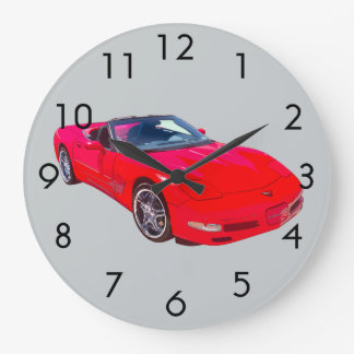 Red C5 Corvette convertible Muscle Car Large Clock