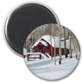 Red Cabin in Winter Magnet