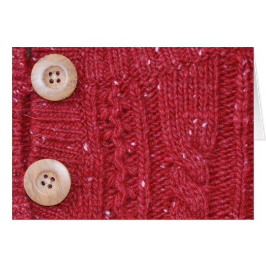 Red Cable Knit and Two Buttons Card
