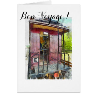 Red Caboose, Train Art, Vintage Art, Bon Voyage Card
