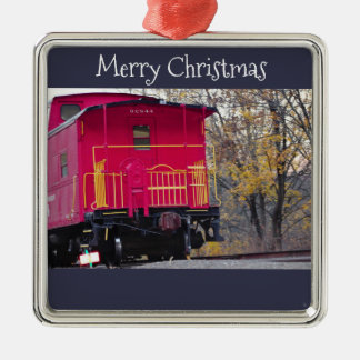 Red Caboose Train Photo Metal Ornament