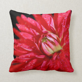 Red Cactus Dahlia Throw Pillow