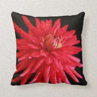 Red Cactus Dahlia Throw Pillow