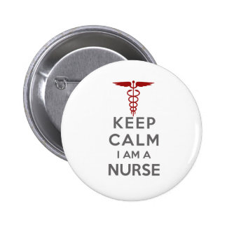 Red Caduceus Keep Calm I am a Nurse 2 Inch Round Button