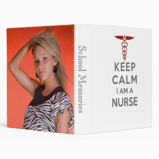Red Caduceus Keep Calm I am a Nurse Vinyl Binder