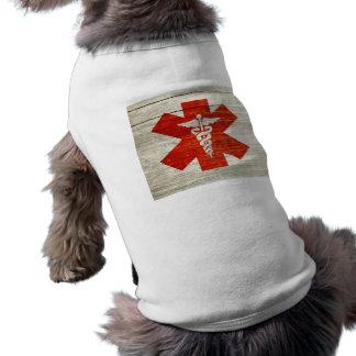 Red caduceus medical symbol pet tee shirt