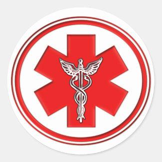 Red Caduceus Round Sticker
