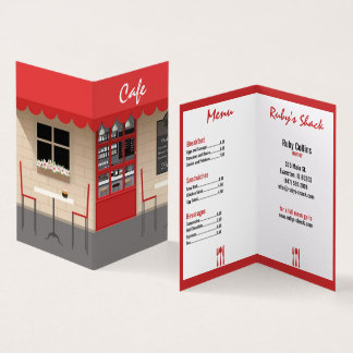 red cafe restaurant business card