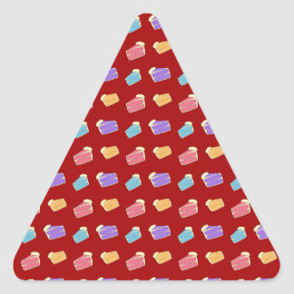 Red cake pattern triangle sticker