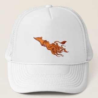RED CALAMARI TRUCKER HAT
