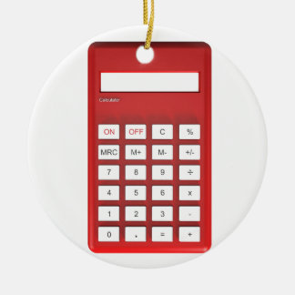 Red calculator calculator ceramic ornament
