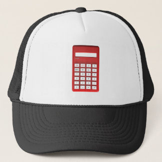 Red calculator calculator trucker hat