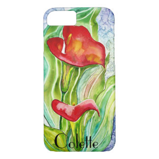 Red Calla Lilies Custom Watercolor iPhone 7 Case