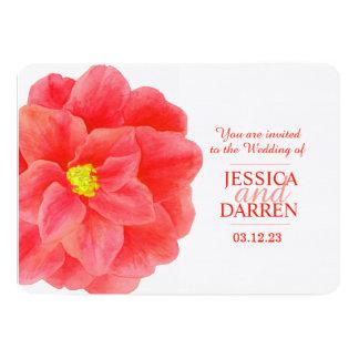 Red camellia flower watercolor wedding invite