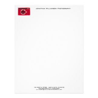 Red Camera Photography Business Letterhead