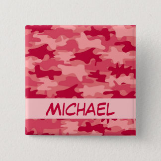 Red Camo Camouflage Name Personalized 2 Inch Square Button