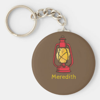 Red Camping Lantern Personalized Keychain