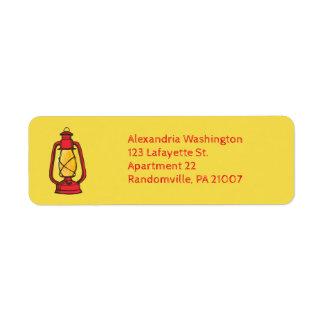Red Camping Lantern Return Address Labels
