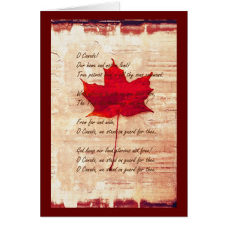 red canadian maple leaf with anthem card