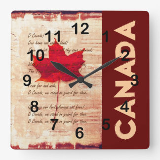 red canadian maple leaf with athem canada wall clocks