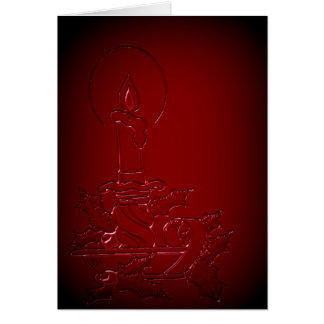 Red Candle Faux Embossed Christmas Card