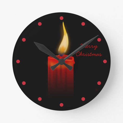 Red Candle Flame at Night Christmas Joy and Hope Clocks