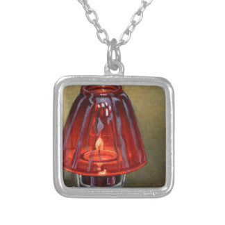 Red Candle Silver Plated Necklace