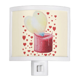 red candle with burning heart shaped flame unique night lights