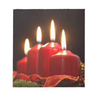 Red candles of an Advent wreath with fir branches Notepad