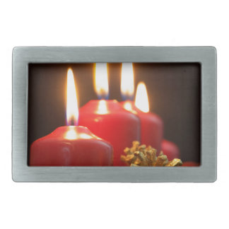 Red candles of an Advent wreath with fir branches Rectangular Belt Buckle