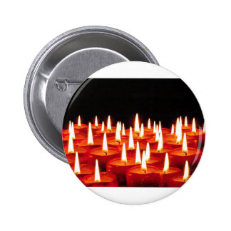Red candles with flames 2 inch round button